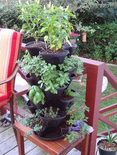 Love my stackable planter- perfect for small patios and holds lots of plants or herbs!