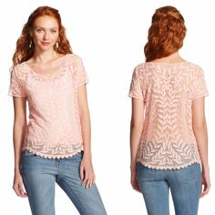 Xhilaration | Embroidered sheer lace top This gorgeous top features a pale coral (somewhere between a pale pink and a pale light orange!) floral embroidery on its front and back and a sheer mesh material--looks adorable over a cami or bralette! Size L in junior sizing--would fit a M great too. NWOT. No trades or PayPal. Xhilaration Tops Blouses