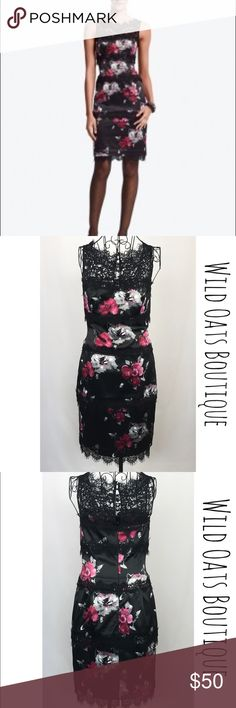 """💜50% off 💜WHBM NWT White House Black Market black dress with pink and gray floral print, Sheer black lace at neckline, keyhole back with 2 dainty fabric covered buttons, hidden zipper in back for an hourglass fit, 3 bands of black lace through bodice, bottom hem adorned with black lace and dainty fringe. This beautiful dress is brand new, never worn, and in perfect condition. Measurements from armpit to armpit:15"""", bust:32"""", waist:28"""", length from waist to hem:23"""". Women's size 2. White…"""