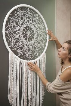 "Wedding Dream Catcher Wall Hanging Wedding Wall Hanging Wedding Gift for Bride and Groom Stair Decor Boho Bedroom Decor Mandala ""Harmony"" wedding dream – Wedding İdeas Doily Dream Catchers, Large Dream Catcher, Dream Catcher Boho, Crochet Dreamcatcher, Crochet Mandala, Boho Bedroom Decor, Boho Decor, Wedding Wall, Dream Wedding"