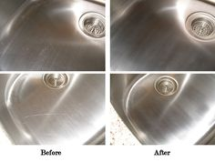 Scratch-B-Gone to removes scratches from stainless steel sinks and appliances.