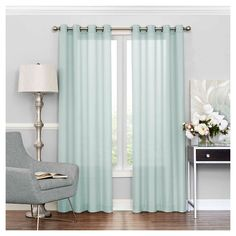 "Liberty Light Filtering Sheer Curtain Blue (52""x108"") Eclipse"
