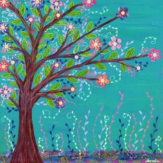 Turquoise Tree Art Print Colorful Abstract Tree by Sascalia