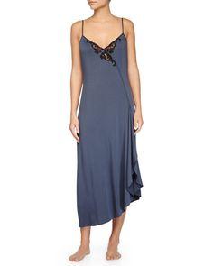 I0LHX La Perla Primula Lace-Trim Long Gown, Light Blue