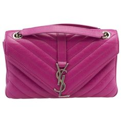 Pre-owned Yves Saint Laurent Medium Electric Pink Matelassé Leather... (1,805 CAD) ❤ liked on Polyvore featuring bags, handbags, shoulder bags, pink, pink purse, purple handbags, pink leather handbags, pink handbags and shoulder handbags