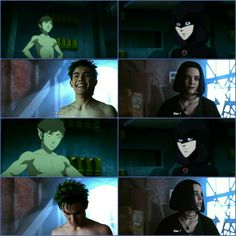 Same BBRae moment but in two shows. Teen Titans Love, Choses Cool, Raven Beast Boy, Dc World, Bbrae, Dc Memes, Comics Universe, Young Justice, Film Serie