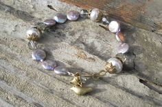 Pearl Gray Bracelet Glass and Coin Pearls Feminine by TeslaDesigns, $26.00