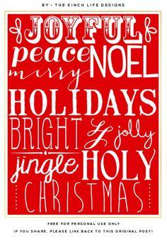 Christmas Words free printable on The Kinch Life at http://www.thekinchlifeblog.com/2013/12/free-christmas-printable.html