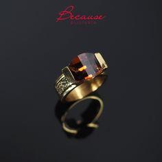 Handmade brass ring with zirconian stone