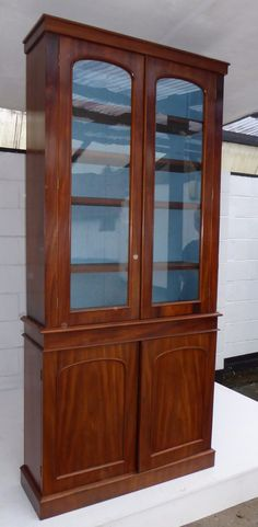 Bookcases For Sale, Mahogany Bookcase, Antique Bookcase, Corner Bar, Antiques For Sale, Get Directions, Panel Doors, Adjustable Shelving, China Cabinet
