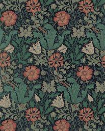 Compton Indigo/Russet från William Morris & Co. Det här är en av de bästa Morristapeterna.