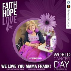 #Repost @itzfrancisbaby with @repostapp  February 4th is World Cancer Day! As many of you know our beloved @jancfrank mom of @jdfffn currently has cancer. I made this picture as a support for her because we ALL love her and Jason. So please let's share this to raise cancer awareness and to show @jancfrank how much she is loved!! Thank you!! #TeamJDF #welovemamafrank #cancerawareness #worldcancerday #teammamafrank #cancersucks #faithhopelove #beatcancer #fighter by gamer419