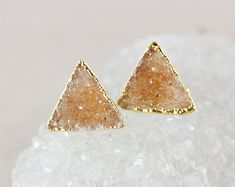 Orange Druzy Studs - Triangle - 14K Gold Fill