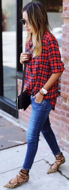 Plaid paired with leopard lace-ups