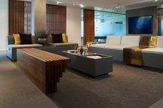Commercial Interior Designers in London. We speacialise in delivering high-end and bespke interior design solution to commercial interior projects. Commercial Interior Design, Office Interior Design, Commercial Interiors, Bolon Flooring, Office Reception Design, Luxury Office, Wooden Slats, Bespoke Furniture, Design Interiors