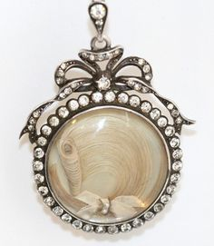 Victorian Large Mourning Sterling Paste Domed Glass Bow Locket Hair & Pearls