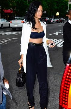 Rihanna style. Cropped top, black pants, heels and white shirt I love her style!