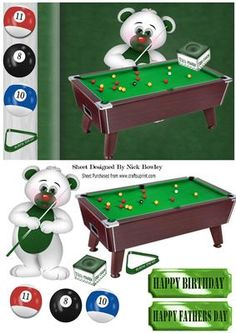 RACK EM UP Little bear with snooker table on Craftsuprint - Add To Basket!