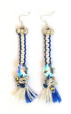 Tassel Earrings Macrame Earrings Navy Blue White by KiaFilStudios