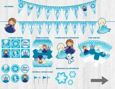 Frozen Birthday Party Decoration Pack - Printable JPG Files - Digital Party Kit.