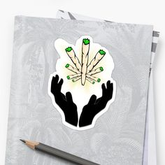 'Holy Joint / Praying For Weed' Sticker by RIVEofficial Weed Stickers, Glossier Stickers, Holi, Pray, Custom Design, Digital Art, Trends, Artist, Accessories