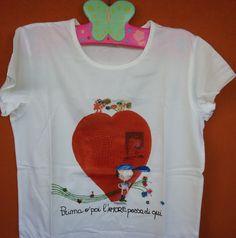 t-shirt mammaocchiacuore con stampa e perline prima o poi l'amore passa di qui : Moda bambina di mammaocchiacuore