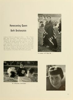 Athena yearbook, 1961. The winning homecoming queen of 1960.