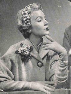 1950s Fascinator Sweet Violets - Hat and Corsage Vintage Crochet Pattern Pdf INSTANT Download