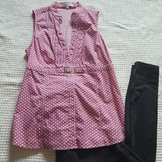NWOT EXPRESS TOP Express design studio size Med top sleeveless awesome snap button v neck top in excellent condition pink and white Polk a dot top with white and pink stripes  Size - medium  COLORS - PINK and white  Material - 97% cotton 3% lycra spandex  Made in China Design - Polk a dots, stripes Snap button front v-neck closure  Size zip underneath pit down side to just above the bottom it DOESN'T UNZIP ALL THE WAY SLEEVELESS  Pit to pit 15 Total length 25 express design studio  Tops…