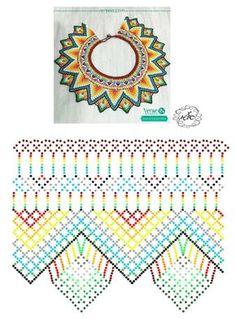 Esquema de collares Diy Necklace Patterns, Bead Loom Patterns, Beaded Jewelry Patterns, Peyote Patterns, Beading Patterns, Seed Bead Projects, Beadwork Designs, Bead Loom Bracelets, Beaded Crafts