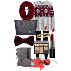 Winter Maroon by k-a-r-a-p-a-n-g-e-l-i-n-a-n on Polyvore featuring мода, Chicnova Fashion, Solow, UGG Australia, Michael Kors, Cartier, Gemvara, Louise & Zaid, Bobbi Brown Cosmetics and Smashbox