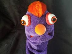 Let your imagination run with this playfully cute purple and orange hand puppet. He's got incredibly soft skin and fancy eyes that make him approachable and lovable. Soft foam mouth plate make this puppet easy for all ages. Hand Puppets, Skin So Soft, Hands, Etsy Shop, Play, Orange, Purple, Cute, Check
