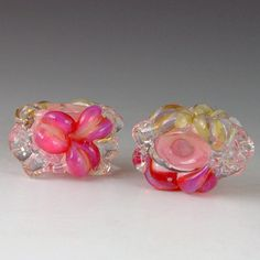 Flower pair 15  2 boro/borosilicate beads by redsidedesigns, $10.00