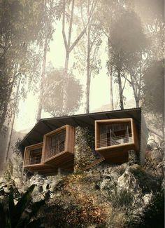 Casa en la montaña y en el medio bosque
