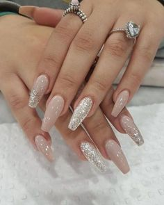 79 Very Inspiring Acrylic Nail Designs Ideas To… Trending Ballerina. 79 Very Inspiring Acrylic Nail Designs Ideas To… Trending Ballerina nails designs nails ideas Silk Wrap Nails, Fall Acrylic Nails, Acrylic Nail Designs Coffin, Shellac Nail Designs, Acrylic Art, Silver Nails, Glitter Nails, Sparkly Acrylic Nails, Wedding Acrylic Nails