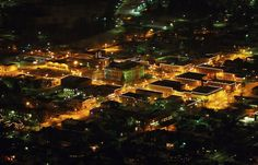My little hometown, Auburn, Indiana... by night.