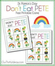 printable St Patrick's Day DON'T EAT PETE is going to help you if you have little ones and/or are in charge of a themed kids party. School, church or even just for fun, your little ones will love playing this Leprechaun themed Don't Eat Pete.