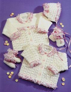 Knit Baby Toddler Cardigan Bonnet Mittens door GrannyPatternStore