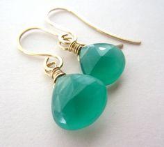 Green Chalcedony Earrings Heart Briolettes LUXE AAA by lcatlla, $26.00