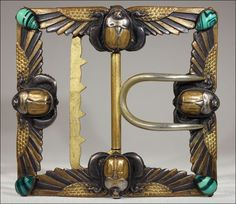 Egyptian Revival style gilt French Art Nouveau belt buckle with flying scarabs by Piele Freres, ca. 1880