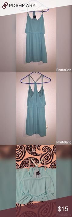 Summer dress 👗 Light turquoise dress 👗 cute silver beads on the straps! 100% Polyester  goes perfectly with sandals or wedges ✨✨ Rue21 Dresses Midi