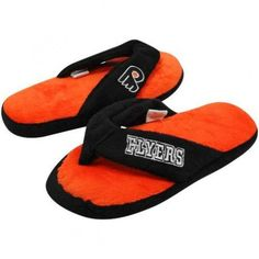 f4352cf93c9 NHL Philadelphia Flyers Ladies Black-Orange Plush Thong Flip Flop Slippers  Shoe Adds for your