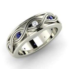 Men's - Wyanet - Blue Diamond Men's Ring in White Gold with I Diamond ct. Diamond Wedding Rings, Wedding Ring Bands, Round Diamond Ring, Diamond Gemstone, Black Diamond, Sapphire Diamond, Sapphire Rings, Gemstone Rings, Sapphire Wedding