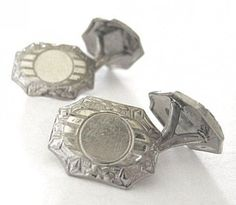BELAIS White Gold-Fronted Octagonal Cuff Links (item #1354551)