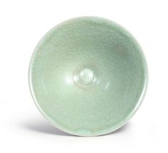 A 'Longquan' celadon 'Ice'-crackled conical bowl, Southern Song Dynasty (top)