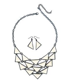 Fashionomics Ivory & Black Triangle Statement Necklace & Drop Earrings on #zulily! #zulilyfinds