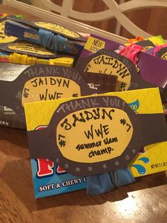 Wwe birthday party favors! Simple, cute and quick!