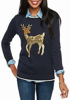 crown & ivy™ Petite Size Reindeer Intarsia Sweater