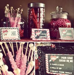 """A """"Pour Some Sugar on Me"""" Candy Bar for an {80's Rock Star} 1st Birthday Party! @Rock Paper"""