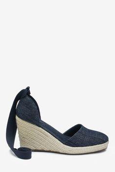 Buy Denim Wrap Espadrille Wedges from the Next UK online shop Holiday Shoes, Next Uk, Uk Online, Espadrilles, Wedges, Heels, Leather, Stuff To Buy, Shopping